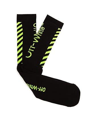 c92295873602e Off-white Off-white - Diagonal Striped Logo Knitted Socks - Mens - Black