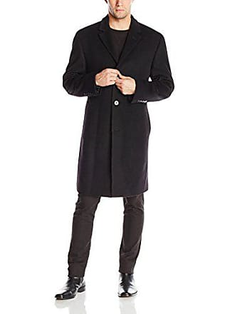 ce5a90599af8 Calvin Klein Mens Plaza Solid Single Breasted Wool Blended Overcoat