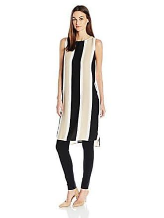 Vince Camuto Womens Sleeveless Deco Bold Stripe Tunic with Side Slits, Tiramisu, XS