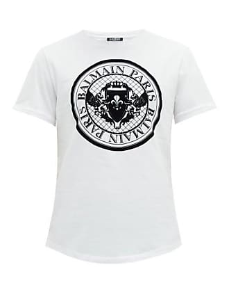 a4cae8c3f36e Balmain Flocked Logo Cotton T Shirt - Mens - White