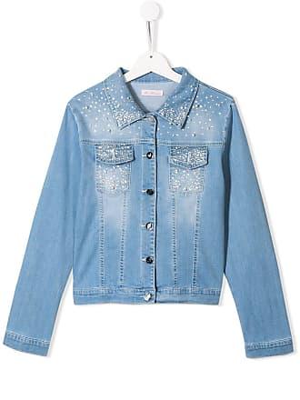 Blumarine Jaqueta jeans com aplicações - Azul