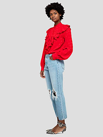 Msgm denim trousers with rips and print on the back