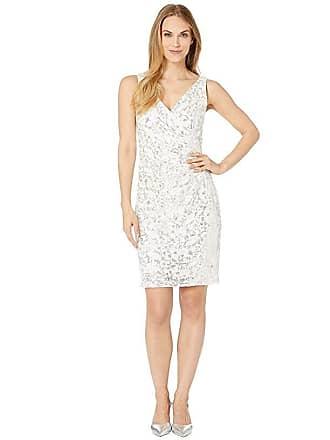 640bac0fc54 Vince Camuto Sleeveless V-Neck Cocktail Dress with Side Pleats (Ivory)  Womens Dress