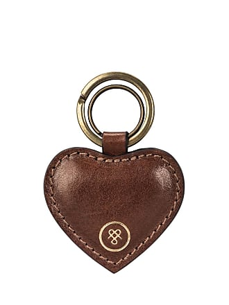 Maxwell Scott Maxwell Scott - Luxury Luxury Heart Shaped Leather Mimi Key Ring In Tan