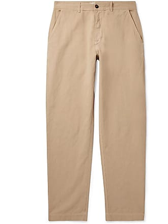 Universal Works Tapered Linen And Cotton-blend Trousers - Sand