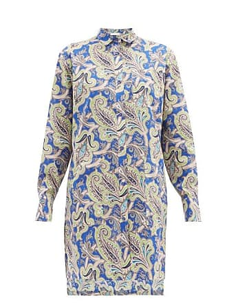 Etro Paisley Print Cotton Shirtdress - Womens - Blue