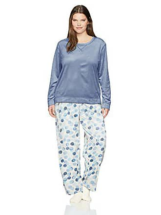 9bd4a4d45cc104 Hue Womens Sueded Fleece Long Sleeve Tee and Pant 3 Piece Pajama Set, Blue  Indigo