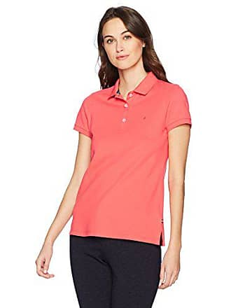 cf863b59 Nautica Womens Short Sleeve Stretch Solid Polo Shirt, Bright Coral, Small