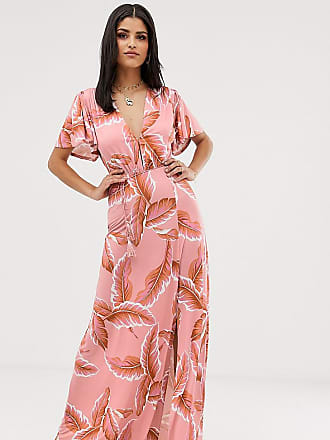 Asos Tall ASOS DESIGN Tall floral flutter sleeve maxi dress with tassel belt-Multi