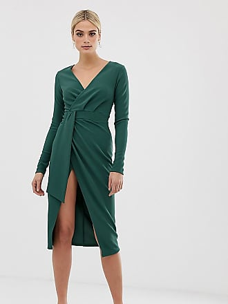 dcff514fa5 Asos Tall ASOS DESIGN Tall long sleeve wrap midi dress with belt detail