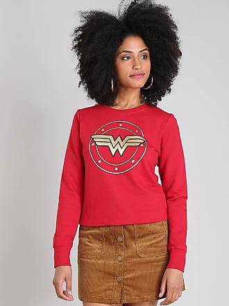 DC Comics Blusão Feminino Mulher Maravilha em Moletom Decote Redondo Vermelho