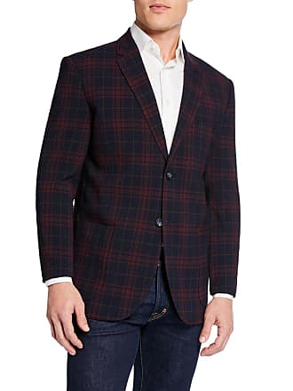 Neiman Marcus Mens Plaid Crinkle Travel Blazer