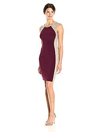 Xscape Womens Short Dress with Caviar Bead Sides, Wine/Nude/Silver, 14