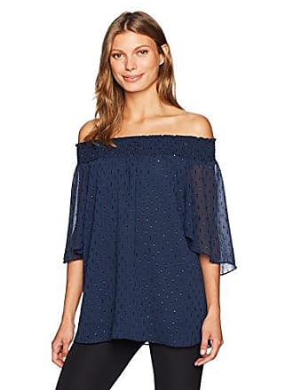 T Tahari Womens Cecilia Blouse, True Navy, L
