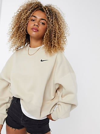 Nike mini swoosh oversized boxy sweatshirt in oatmeal-Beige