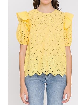 ETERNA Bluse aus reiner Baumwolle mit kurzen Ärmeln klassisch gelb Damen 42