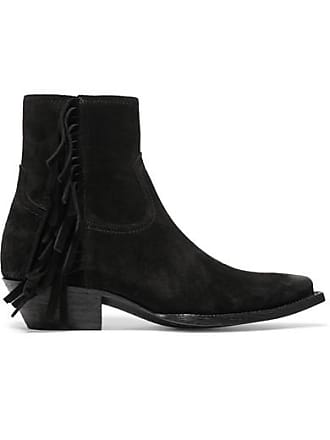 af2f7f943 Saint Laurent Lukas Distressed Fringed Suede Ankle Boots - Black