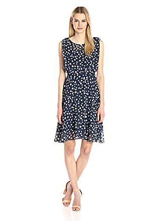 Adrianna Papell Womens Printed Chiffon Blouson Dress, Navy/Ivory, 6