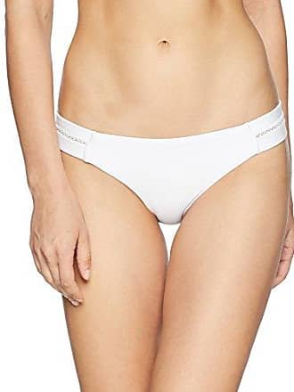 8bd05fab296 PilyQ Womens White Stitched Tab Bikini Bottom Teeny Swimsuit, Water Lily, L