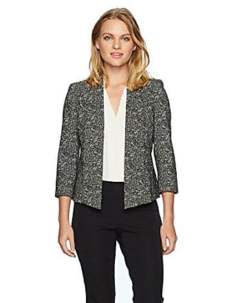Kasper Womens Petite Woven Jacket with Shawl Collar, Black/Ivory, 6P