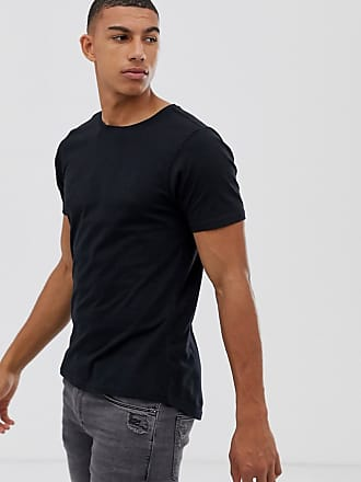 f50a107f Another Influence Muscle Fit Stretch Long line Curved Hem Logo T-Shirt -  Black