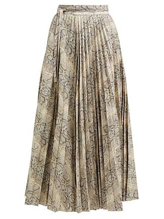 A.W.A.K.E. A.w.a.k.e. Mode - Stephanie Python Print Pleated Cotton Skirt - Womens - Beige Print