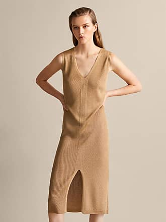 MASSIMO DUTTI RIBBED V-NECK DRESS