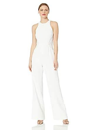 Halston Heritage Womens Sleeveless High-Neck Jumpsuit with Strip Applique, Chalk 4