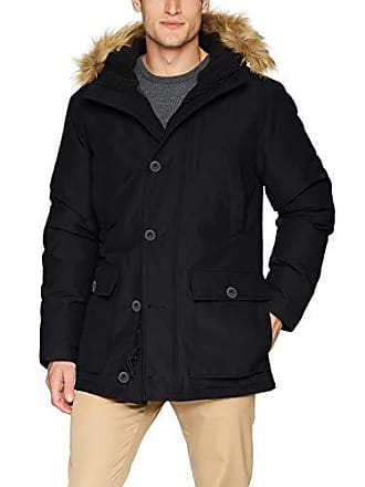 Goodthreads Mens Down Filled Hooded Parka, Black, Large