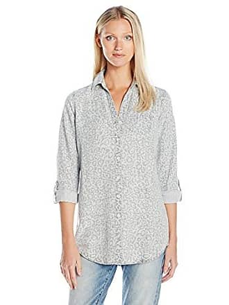 d20a9e3d Foxcroft Womens Long Sleeve Denim Tencel Animal Print, Silver, 10
