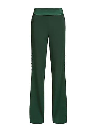 Jonathan Simkhai Crepe Satin Slit Button Straight Leg Pants Green