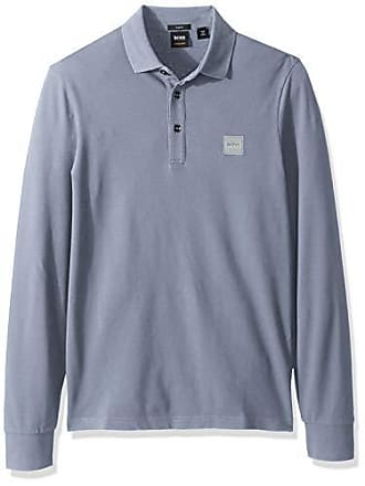 60bff084 HUGO BOSS BOSS Orange Mens Passerby Long Sleeve Polo with Chest Logo Patch,  Open Blue