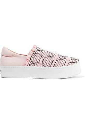 Opening Ceremony Opening Ceremony Woman Cici Shirred Embroidered Canvas Slip-on Platform Sneakers Pastel Pink Size 39