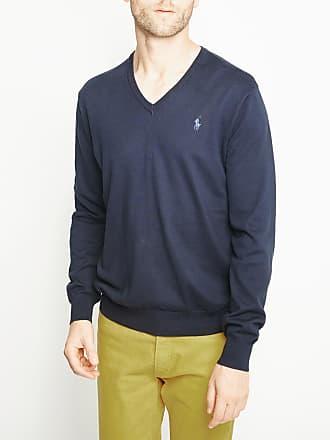 Polo Ralph Lauren Pull en coton pima à col V slim fit Bleu Polo Ralph Lauren 3bb3df5dbc8b