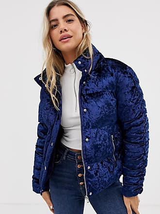 Urban Bliss Pheonix padded jacket in velvet-Navy