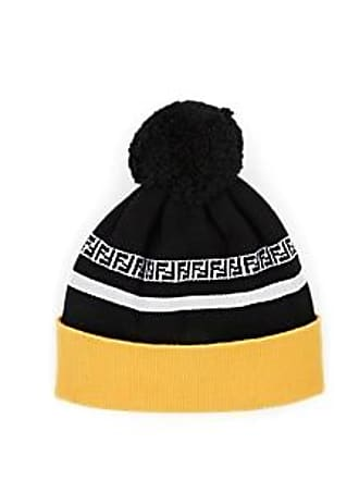 77ba875e5ffa2 Fendi Mens Rib-Knit Wool Pom-Pom Beanie - Yellow