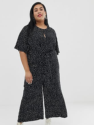 aa15e19f2d71 Glamorous Curve relaxed jumpsuit with tie front in spaced spot print