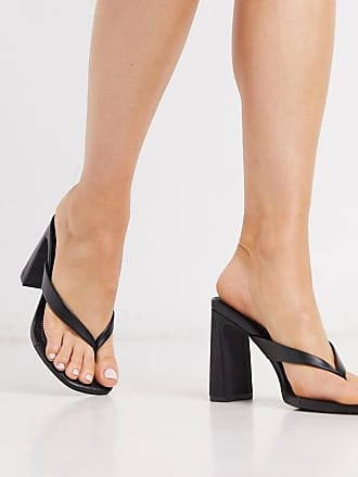 Qupid Qupid thong heeled mules in black
