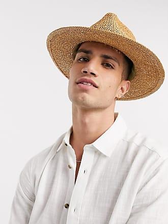 Burton Menswear Fedora in paglia color cuoio