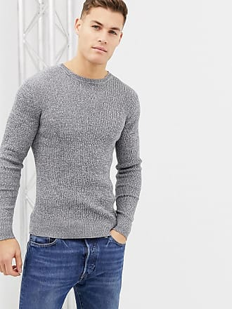 Brave Soul muscle fit roll neck stretch rib sweater in 100% cotton - Gray