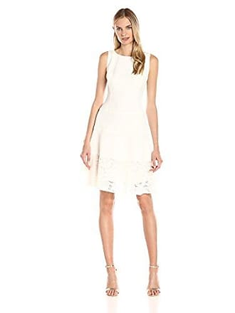c7ba24be12 Anne Klein Womens Crepe Lace Combo Boat Neck Drop Waist Fit and Flare Dress