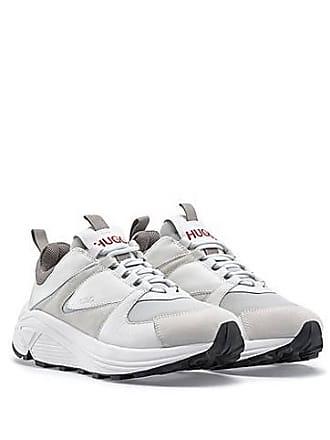 3e60ad7f6039 HUGO BOSS Sneakers aus Mesh, Veloursleder und Leder mit dicker Sohle