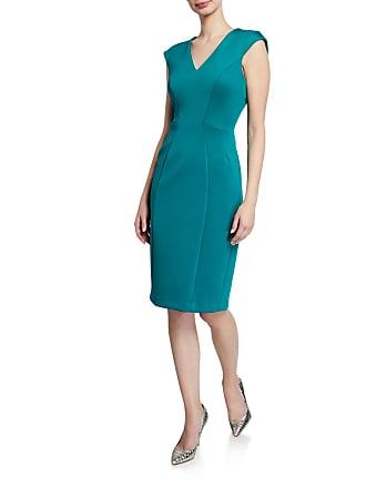 Iconic American Designer Scuba Crepe Seamed Sheath Dress