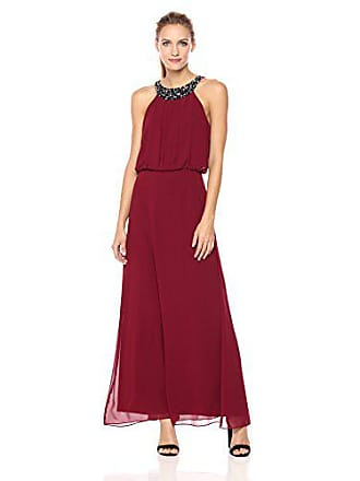 Nine West Womens Chiffon Maxi Dress with Pleated Bodice and Shirred Waist, Bordeaux, 4