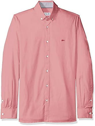 7789f46a78753d Lacoste Mens Long Sleeve Slim Fit Solid Stretch Pinpoint Button Down