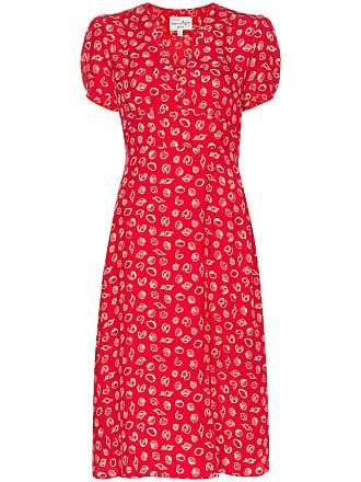 HVN Paula shell print midi silk dress - Red