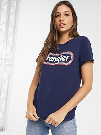 Wrangler T-shirt classica con logo rotondo-Navy