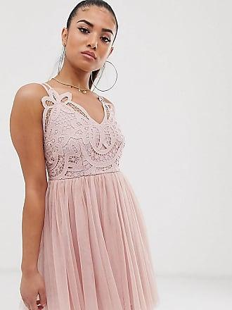 Asos Petite ASOS DESIGN Petite - Premium - Camisole-Minikleid aus Tüll mit Spitzenoberteil-Rosa