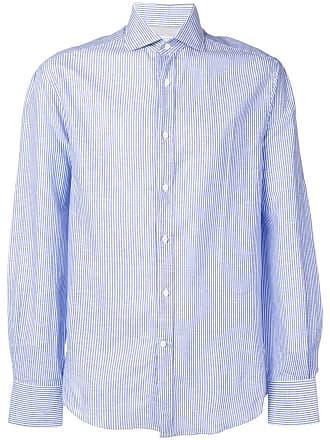 Brunello Cucinelli Camisa listrada - Azul
