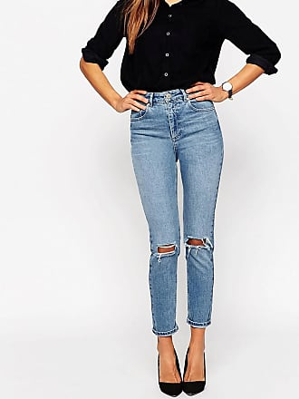 Asos Farleigh high waist slim mom jeans in prince wash with busted knees - Blue